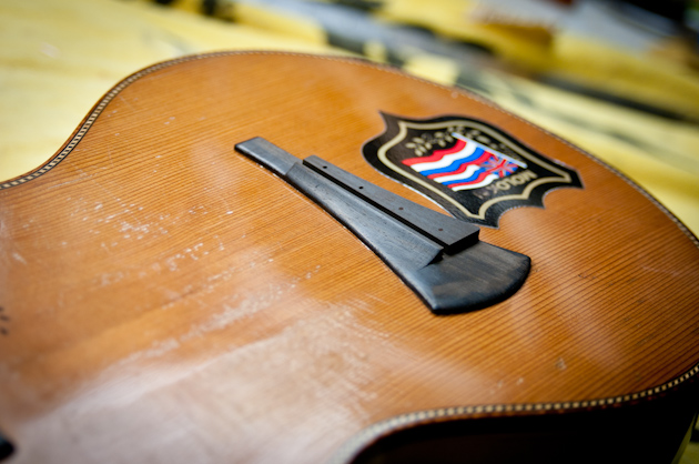 Eddie Vedder's ukulele bridge with string holes