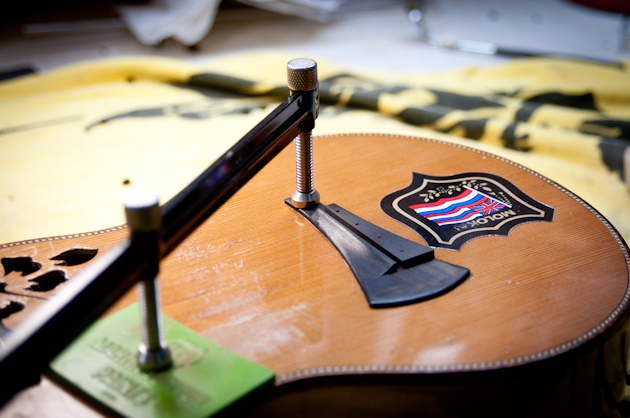 Eddie Vedder's ukulele bridge glueing